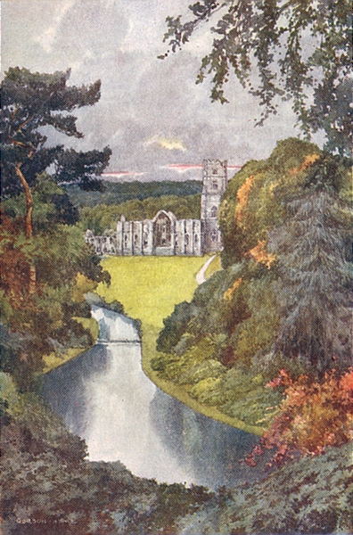 Associate Product YORKS. Fountains Abbey 1908 old antique vintage print picture