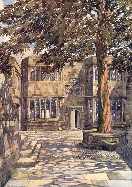 Associate Product YORKS. The Courtyard of Skipton Castle 1908 old antique vintage print picture