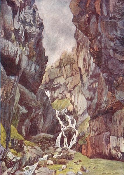 YORKS. Gordale Scar 1908 old antique vintage print picture