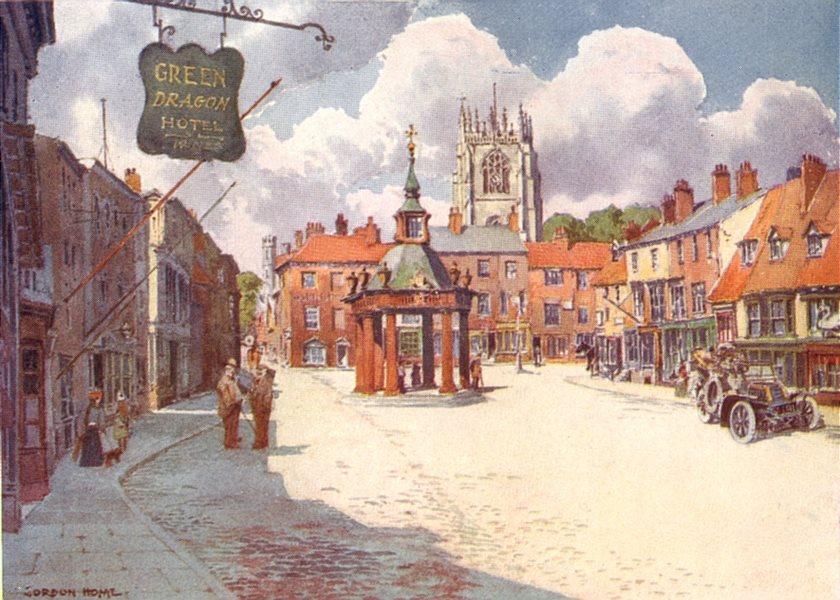 YORKS. Beverley Market Place 1908 old antique vintage print picture
