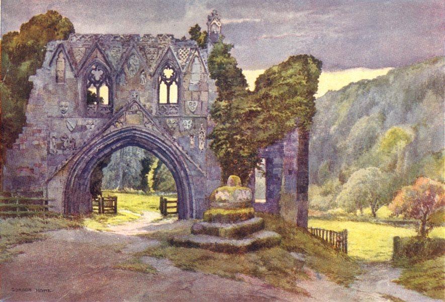 Associate Product YORKS. Kirkham Abbey 1908 old antique vintage print picture