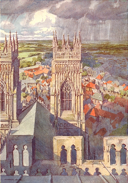 Associate Product YORKS. York from the Minster 1908 old antique vintage print picture