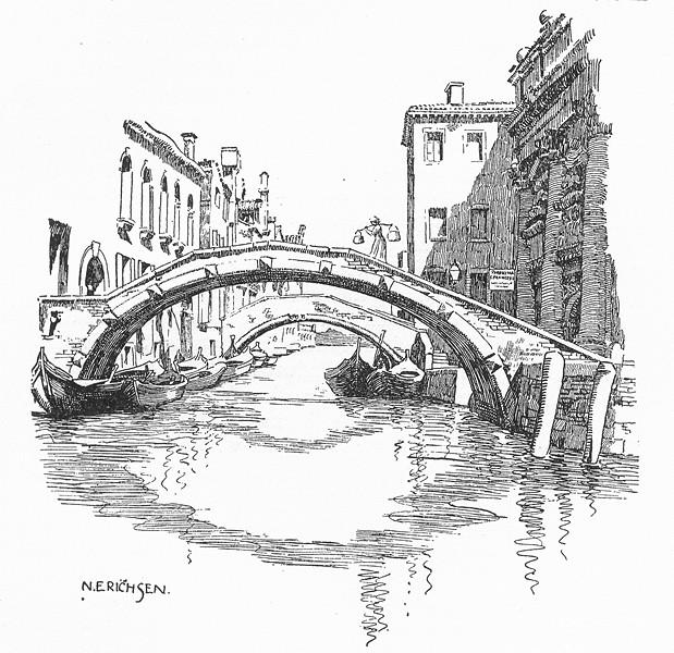Associate Product VENICE. Ponte S Giustina 1930 old vintage print picture