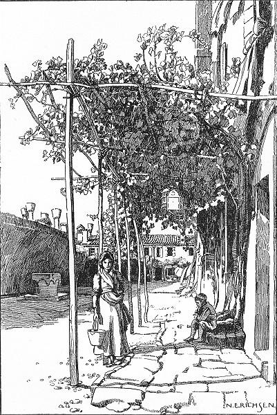 Associate Product VENICE. Vine Pergola on the Giudecca 1930 old vintage print picture