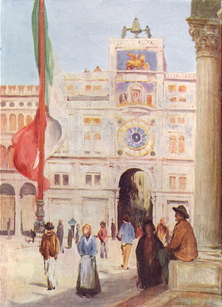 Associate Product VENICE. The Clock Tower and entrance to the Merceria 1930 old vintage print