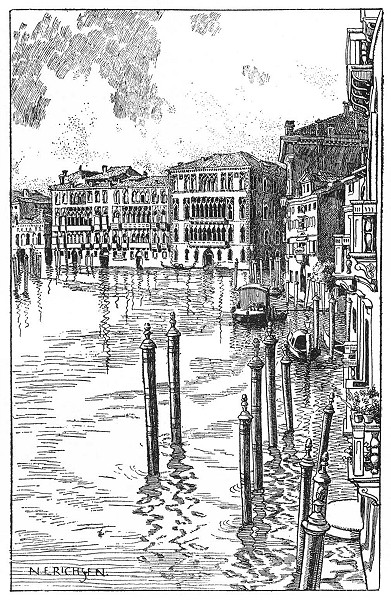 Associate Product VENICE. The Palazzi Giustiniani and Foscari 1930 old vintage print picture
