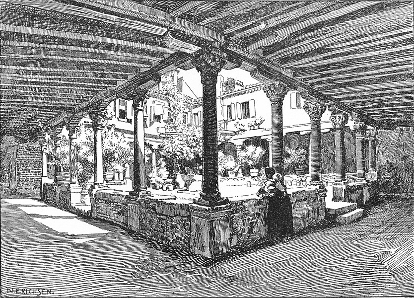 Associate Product VENICE. Cloister of S Gregorio 1930 old vintage print picture