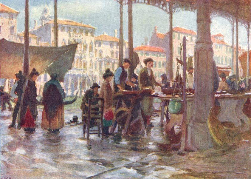 Associate Product VENICE. The fish market 1930 old vintage print picture
