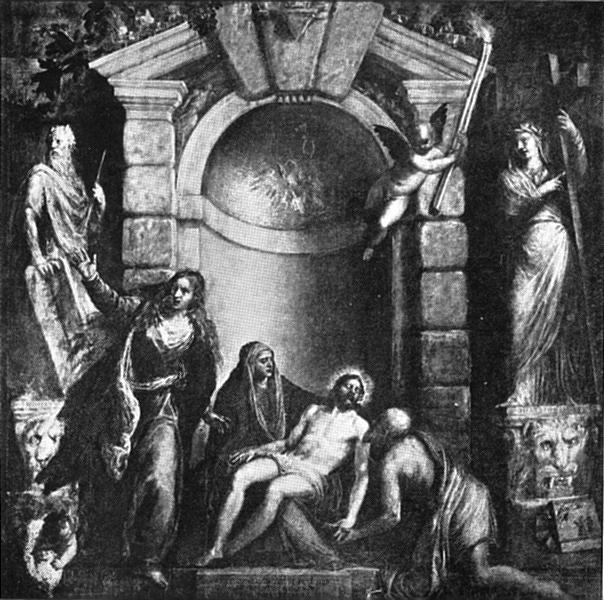 Associate Product VENICE. Mason-Painter-Glass-worker-Printers. Accademia-dead Christ-Titian 1930