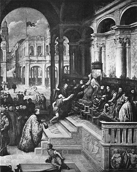 Associate Product VENICE. Accademia-Presentation of St Mark's ring to the Doge 1930 old print