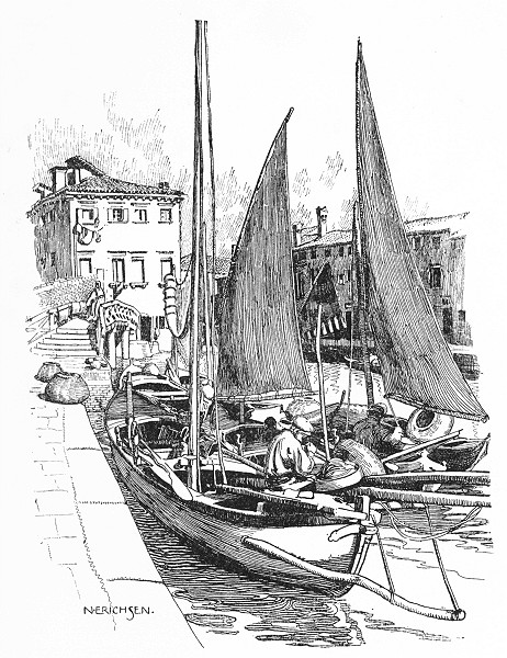 Associate Product VENICE. Fishing-boats on the Giudecca 1930 old vintage print picture