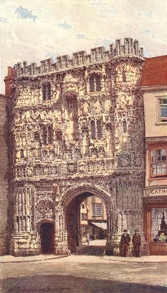 Associate Product KENT. Christ Church gate, Canterbury 1907 old antique vintage print picture