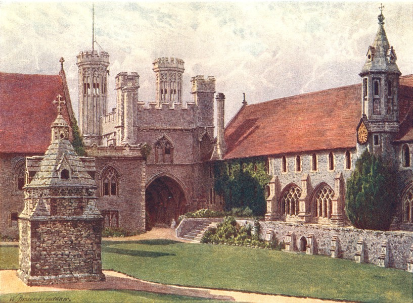 Associate Product KENT. The Quadrangle, St Augustine's College, Canterbury 1907 old print