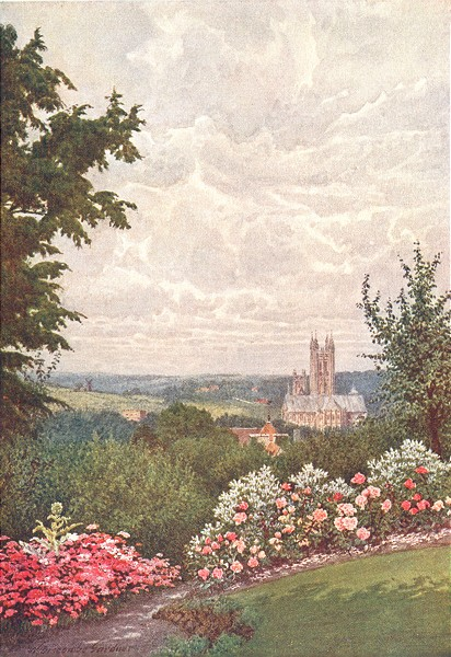 Associate Product KENT. Cathedral, St Martin's Church Tower & Harbledown, Canterbury 1907 print