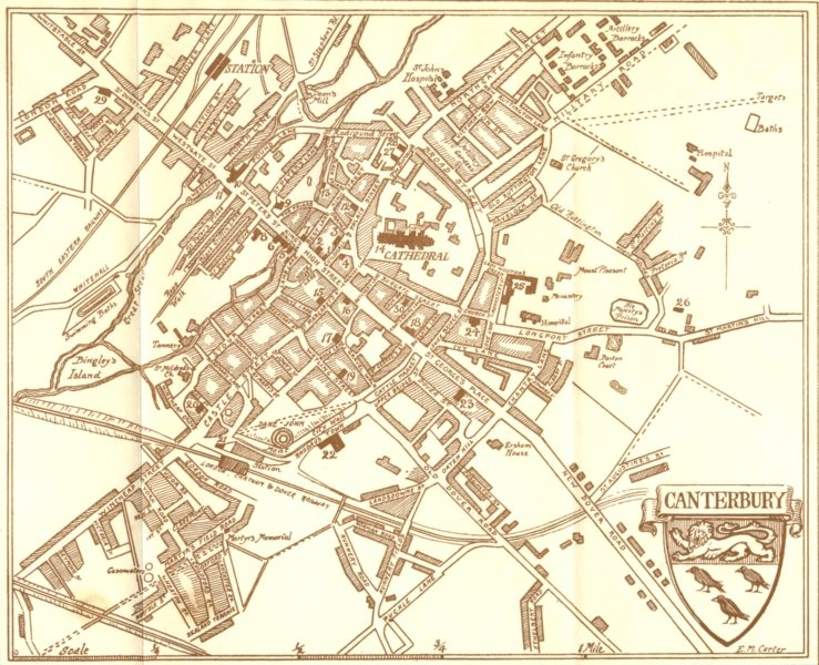 Associate Product KENT. Sketch plan of Canterbury 1907 old antique vintage map chart