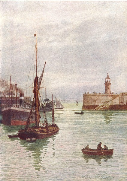 Associate Product KENT. In Ramsgate Harbour 1907 old antique vintage print picture