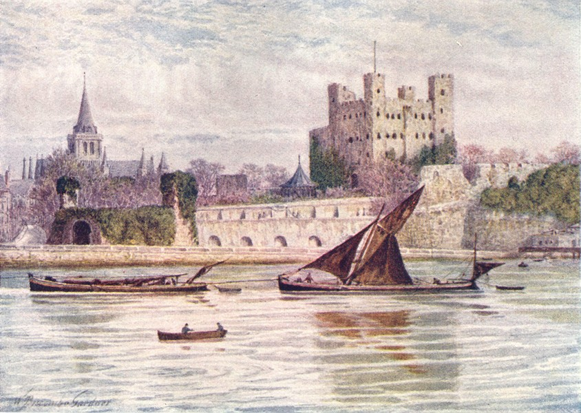 Associate Product KENT. Rochester Castle and Cathedral from across the Medway 1907 old print