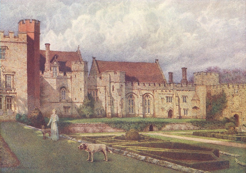 KENT. Penshurst Place from the Terrace 1907 old antique vintage print picture