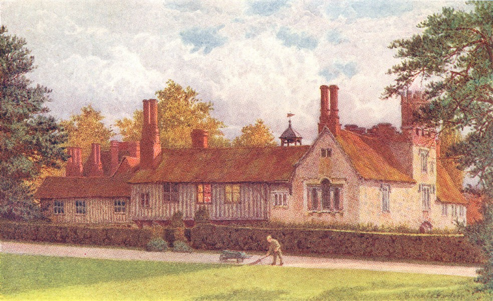 KENT. Ightham Mote from the Terrace 1907 old antique vintage print picture