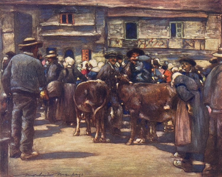 Associate Product MORBIHAN BRITTANY BRETAGNE. A cattle-market 1905 old antique print picture