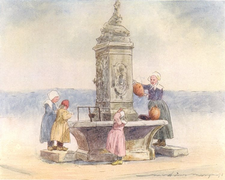Associate Product FINISTÈRE BRITTANY BRETAGNE. At the fountain, Concarneau 1905 old print