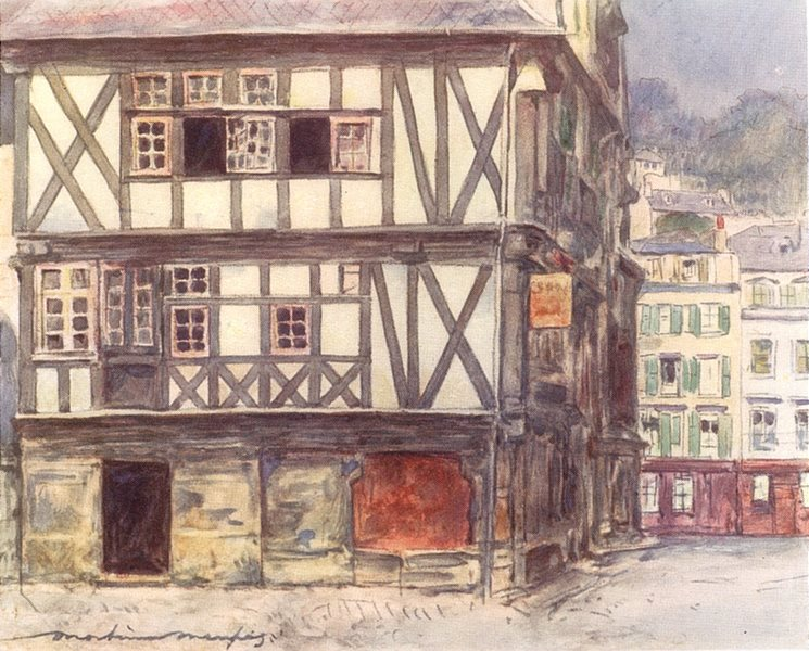 Associate Product BRITTANY. Mediaeval house at Morlaix 1905 old antique vintage print picture