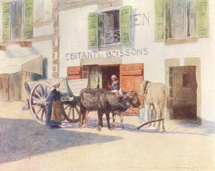 Associate Product FINISTÈRE BRITTANY BRETAGNE. A sand-cart, Quay, Pont-Aven 1905 old print