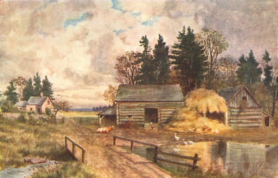 Associate Product CANADA. Maritime Provinces. Old-fashioned farm, New Brunswick 1907 print