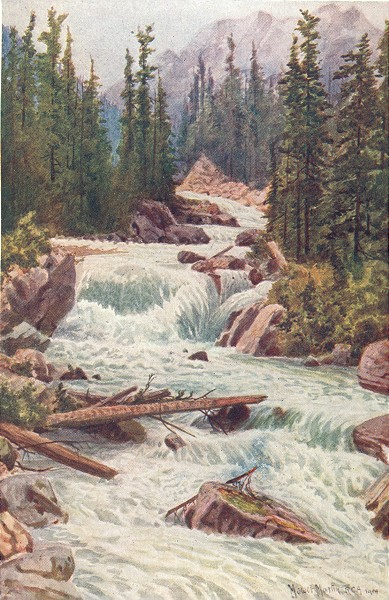 Associate Product CANADA. Falls, Illecillewaet river, Selkirk Mountains, British Columbia 1907