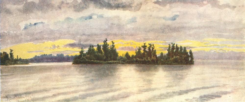 Associate Product CANADA. Canadian lake Region. Showery Weather, Muskoka 1907 old antique print
