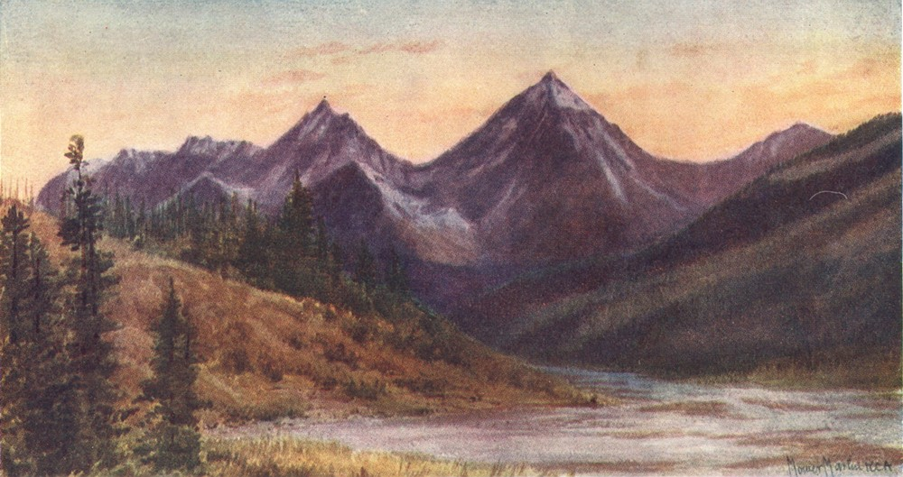 CANADA. Van Horne Range(Evening) 1907 old antique vintage print picture