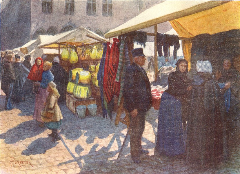 Associate Product BELGIUM. A corner of the market on the Grand' place, Brugge 1908 old print