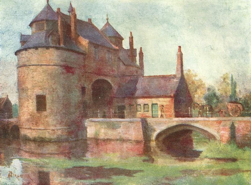 Associate Product BELGIUM. Porte d'Ostende, Brugge / Bruges 1908 old antique print picture