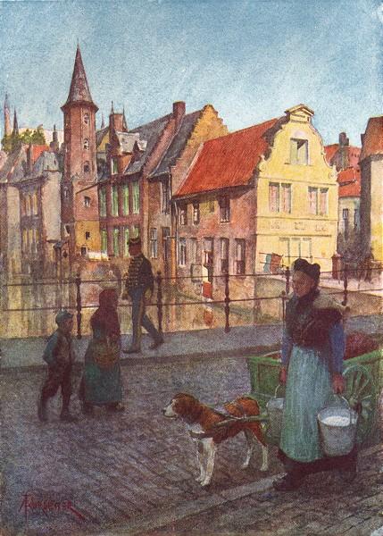 Associate Product BELGIUM. Quai du Rosaire, Brugge / Bruges 1908 old antique print picture