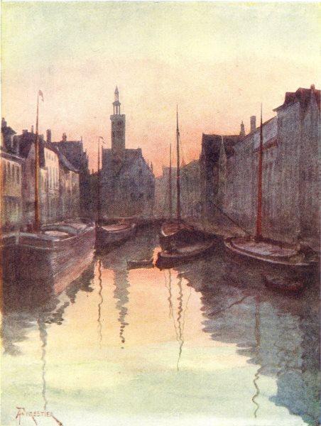 Associate Product BELGIUM. Quai du Miroir, Brugge / Bruges 1908 old antique print picture