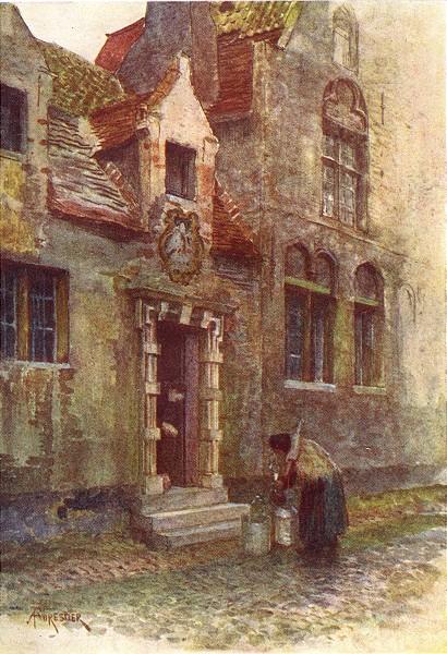 Associate Product BELGIUM. Maison du Pelican (Almshouse) Brugge / Bruges 1908 old antique print