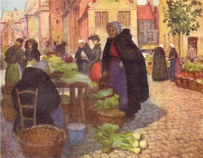 Associate Product BELGIUM. Vegetable market, Brugge / Bruges 1908 old antique print picture