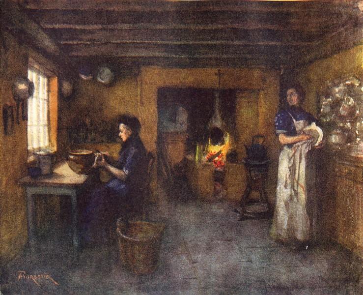 Associate Product BELGIUM. Interior of a Farmhouse, Duinhoek 1908 old antique print picture