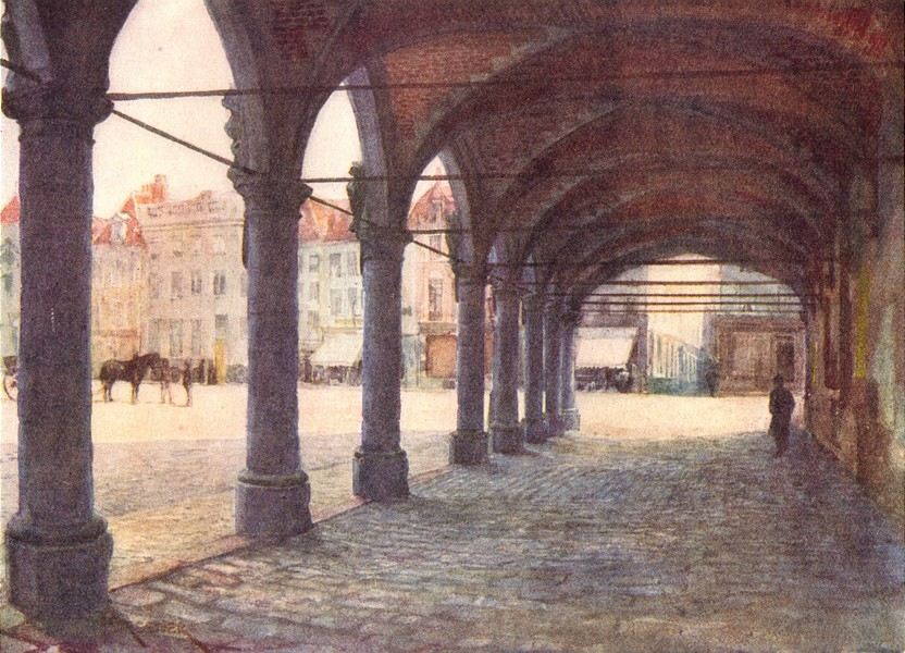 Associate Product BELGIUM. Arcade under the Nieuwerk, Ypres 1908 old antique print picture