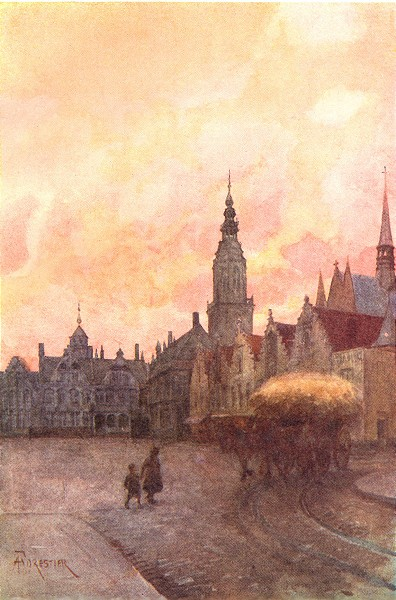 BELGIUM. Grande Place and Belfry, Veurne Furnes 1908 old antique print picture