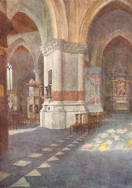 Associate Product BELGIUM. Interior of Church, Nieuwpoort 1908 old antique vintage print picture