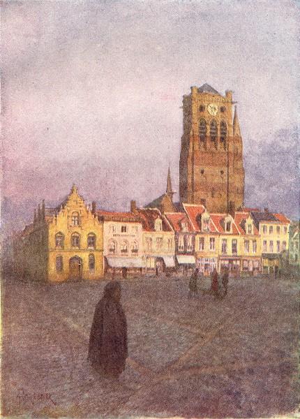 BELGIUM. Tower of St Nicholas, Veurne Furnes 1908 old antique print picture