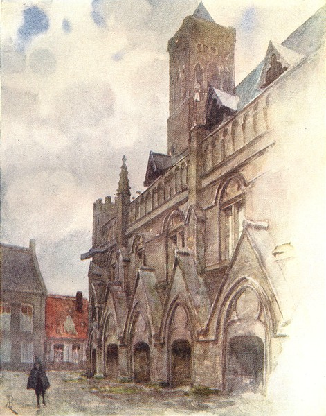 Associate Product BELGIUM. The Town hall, Nieuwpoort 1908 old antique vintage print picture