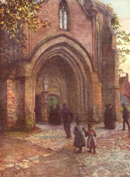 Associate Product BELGIUM. Church porch (Evensong), Nieuwpoort 1908 old antique print picture
