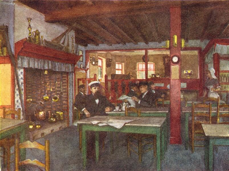 Associate Product BELGIUM. Interior of a Flemish Inn, La Panne 1908 old antique print picture