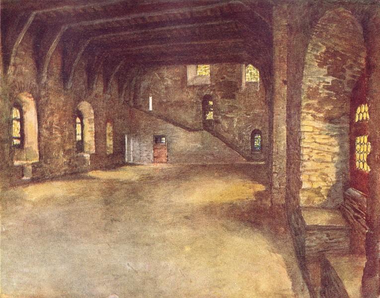 Associate Product BELGIUM. The banquet hall, Chateau des Comtes, Ghent 1908 old antique print