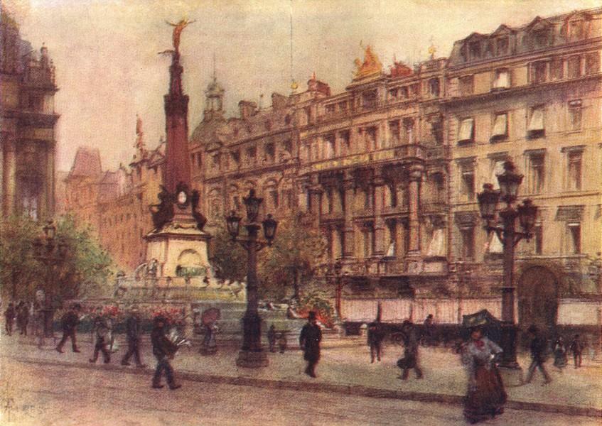 BELGIUM. Place de Brouckere, Brussels 1908 old antique vintage print picture
