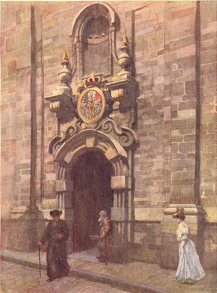 Associate Product BELGIUM. Entry to Old Church Carmelites, Brussels 1908 antique print