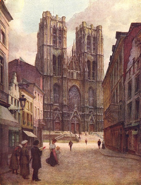 Associate Product BELGIUM. The Cathedral of Ste Gudule, Brussels 1908 old antique print picture