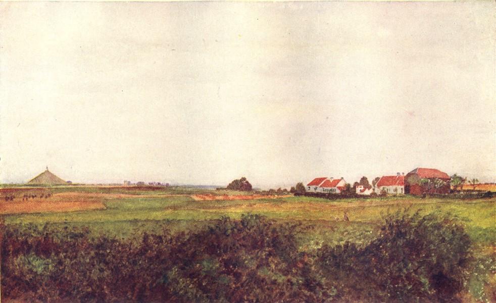 Associate Product BELGIUM. Farm Belle Alliance Mound surmounted, Belgian Lion, Waterloo 1908